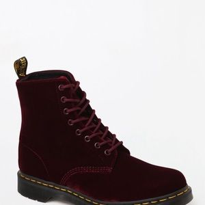 Like new Cherry red velvet Dr. Martens